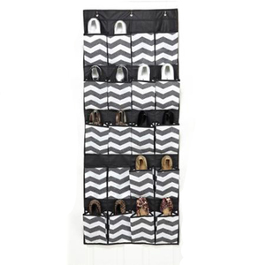 Foldable PP Non woven fabric hanging shoe organizer with 24 pockets