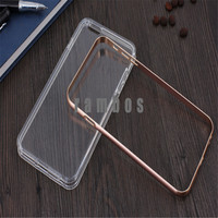 Hot Metal Smartphone Cover Luxury Soft Clear TPU + Aluminum Frame Hybrid Case for iPhone 4 5 6 6 Plus for Huawei Ascend P8