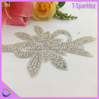sew on silver leave beaded rhinestones applications