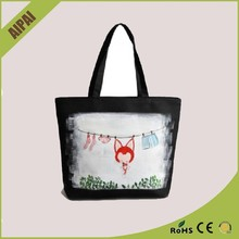 Cute pattern design black side china blank canvas tote bag