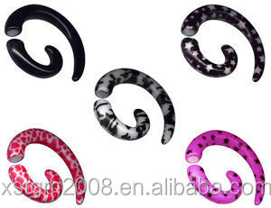 Wholesale Factory UV Acrylic Earring Ear Expander Stretcher Gauge Spiral Taper Fake Cheater Plugs