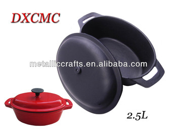 cast iron oval casserole with lid 2.2L,31*18*15cm