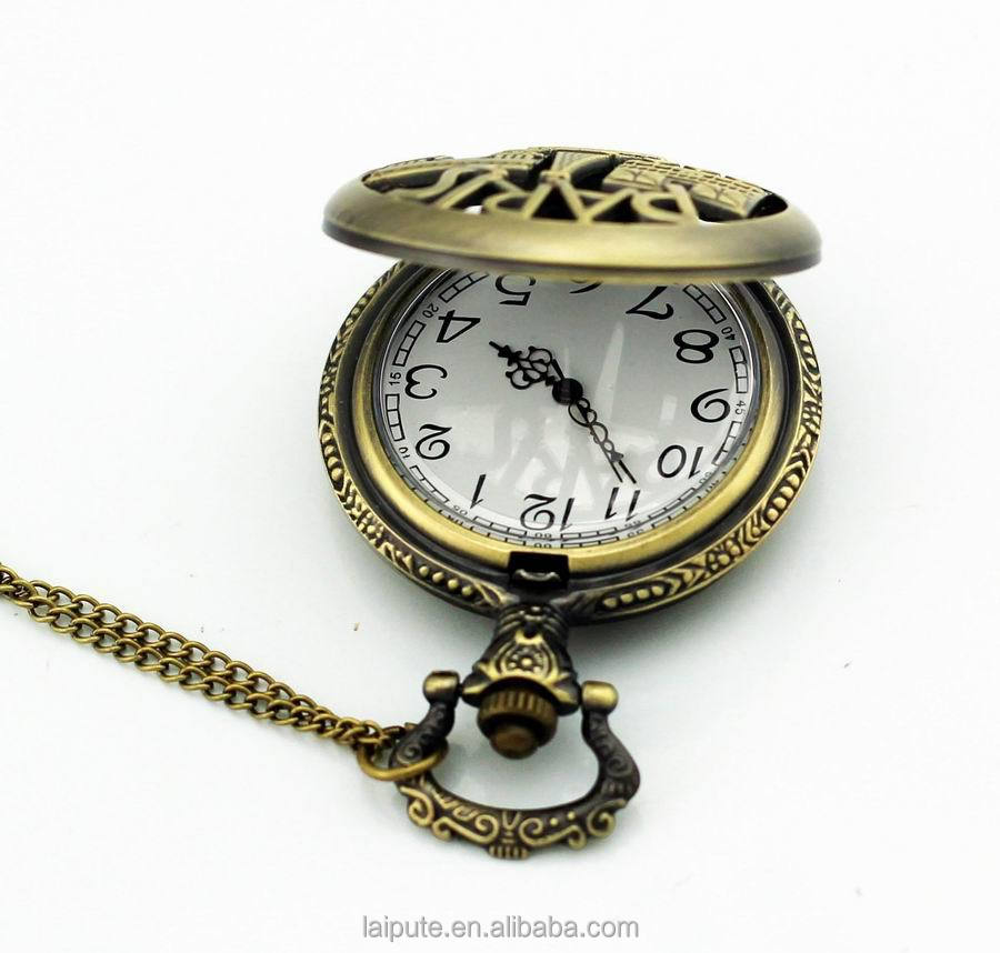 2017 antique paris tower bronze skeleton pocket watch quartz horloges hang watch CE ROHS
