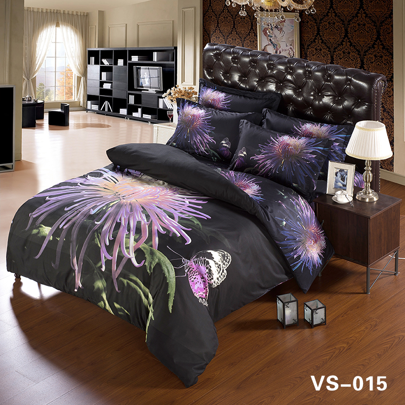 coton linge en gros violet rose et impression 3d satin couverture de lit en coton buy coton. Black Bedroom Furniture Sets. Home Design Ideas