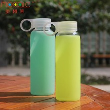 350ml 400ml 450ml 500ml High Borosilicate Glass Water Bottles with Silicone Sleeve Holder