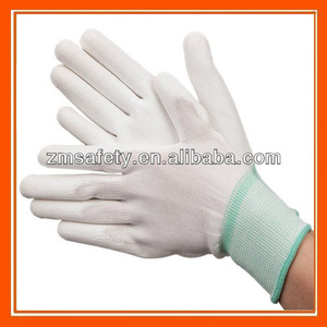 White nylon knitted shell pu palm fit coated Hand Safety working gloves