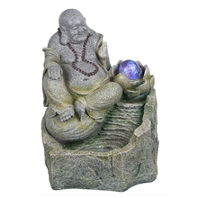Table Top Resin Buddha Water Fountain with LED light