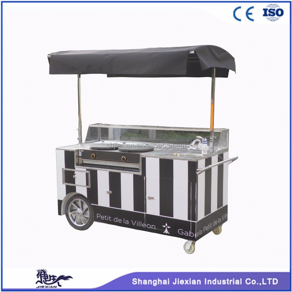 JX-CC180 custom design outdoor moving food kiosk cart can used in bakery pancake cart