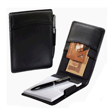 Leather Mini Notepad with Card Holder