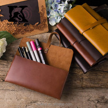 SK-XBD002 Genuine cow leather pen case manufacturer