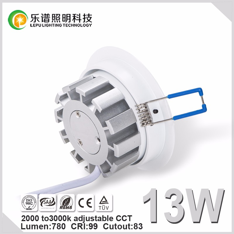 hot selling high quality warm dim cob led downlight 13W with ce&rohs with 83mm cut hole ip44