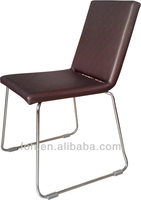 Brown Leather Chrome Dining Chairs, Chrome Dining Chairs for Cafe/Restaurant/Bistro (FOHRC-3)