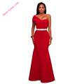 Women Clothes Fashion Red Sexy One Shoulder Long Party Gowns Dress