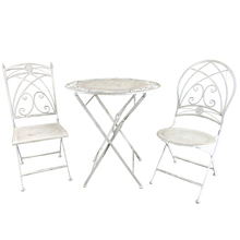 Best Sell Antique White Cast Iron Folding Bistro Set Garden <strong>Furniture</strong>