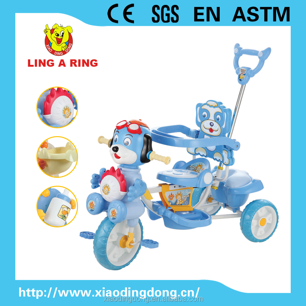 kids tricycle with pushbar and canopy baby trike with musical lovely dog head wholesale tricycel for baby