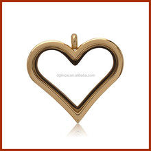 Gold color magnet point heart shape glass floating locket without crystal