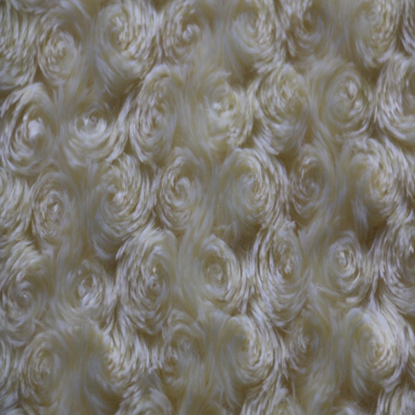 Shrink-resistant 100% polyester knitted beautiful faux fur white rose pattern pv plush fabric with swirl embossed