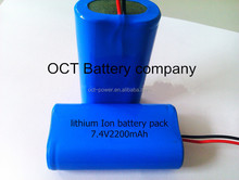 Digital camera battery pack 2200mah 7.4v ICR18650