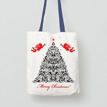 High Quality white diy recycled canvas cotton christmas bag