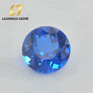 Factory direct high quality synthetic gemstone round nano crystal lab created blue sapphire round
