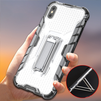 High Impact clear kickstand tpu pc phone case for iphone 8 plus