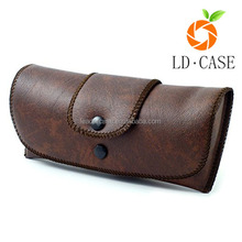 Custom genuine leather glasses case and box , OEM metal leather sunglass case