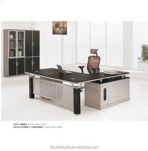 Hight quality black and silver double colur modern style office desk 2000mm withe file cabinet and thress drawers