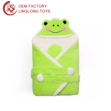 Cartoon Animal Shape Sleeve Muslim Swaddle Plush Frog Swaddle Wrap Warm Green Frog Fleece Baby Kids Swaddle Blanket