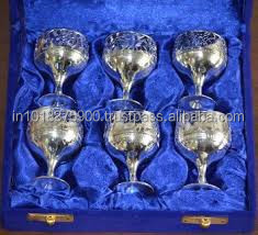 Brass Goblet Solid Brass Wine Goblet , 2014 Hot design gift low price metal wine glass gold and silver plated goblets