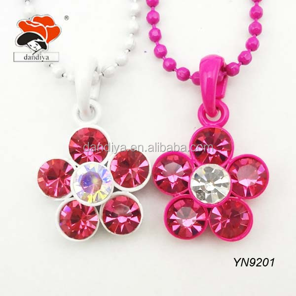 wedding beautiful beaded chain rose rhinestone flower necklace for women
