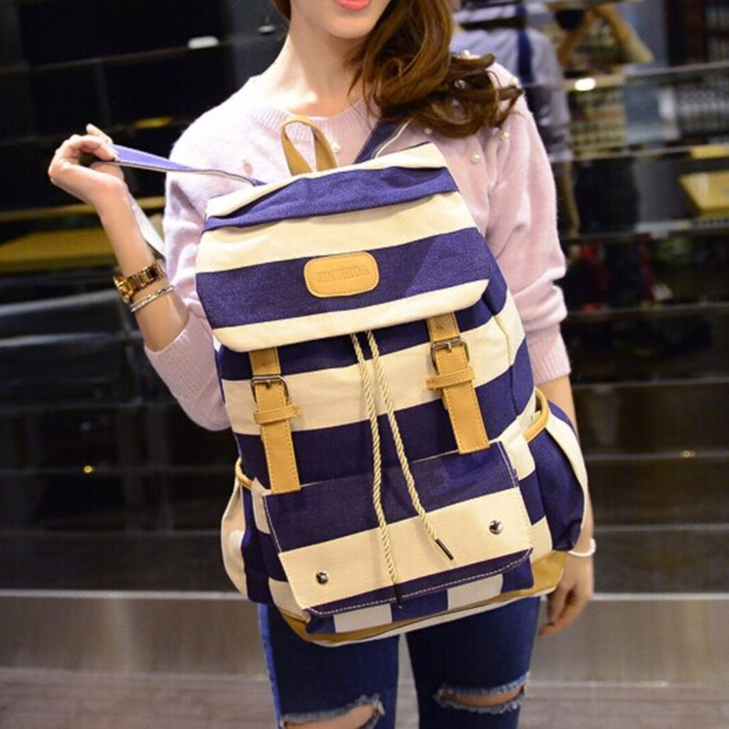 Wholesale fashion stripe pattern canvas high school student backpacks with drawstring closure