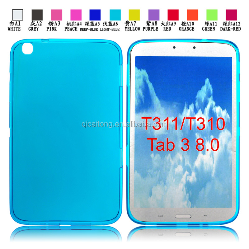 Transparent Clear cell phone tpu case for SumSung T311 T310 Tab3