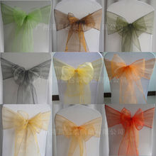 Top quality printed wedding organza bow chair sash