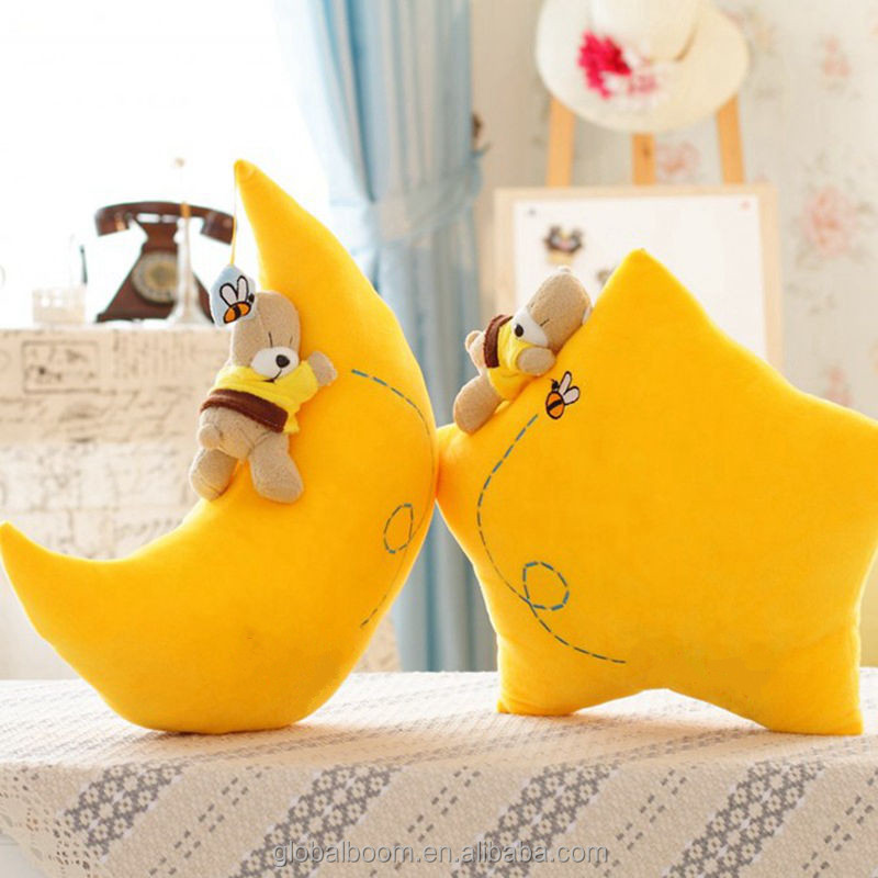 Yellow Star / Moon with Bear Plush Doll Toy Stuffed Pillow Car Sofa Bolster