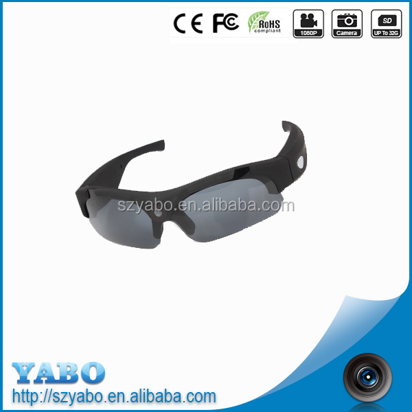 1080P hidden camera sunglasses with colorful upporting Micro SD(TF) card, With simple operation, elegant design