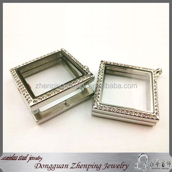 Hot sales stainless steel square glass memory lockets open locket floating locket