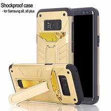 For Samsung Galaxy S8 Protective Case Shell Slim Fit Non-slip Grip Rubber Bumper Case Kickstand Cover with Card Slots