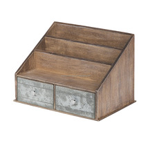 Rustic Brown and Galvanized Metal Wooden Desktop File Folder Organizer with 2 Pockets and 2 Drawers