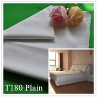 Wholesale hotel bedding set fabric white T180 poly cotton fabric