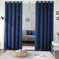 Room Darkening Printed Navy with Sliver Stars Curtain Panels Block out Light Curtains Polyester Soft Microfiber for Boys Girls B