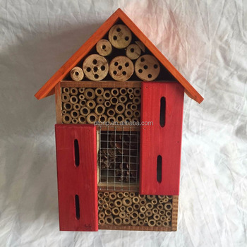 Wooden insect hotel & bee house with different colour for hanging outside