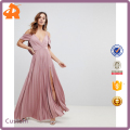 custom make new design plain plus size summer pleated maxi dress