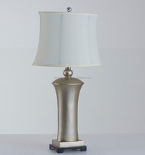 CE ROHS UL Silver vestibule Table Lamp resin table lamp with white linen shade top grade for Portugal