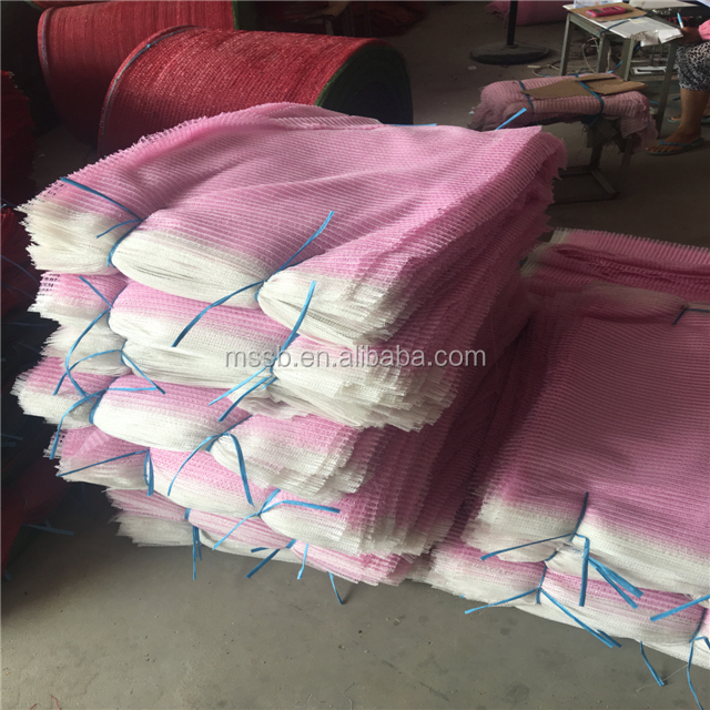 Pink color firewood 50*80 100% polypropylene mesh bag