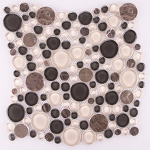BSM026-A Crystal black beige clear glass pebble mosaic tile, round waterjet mosaic tile