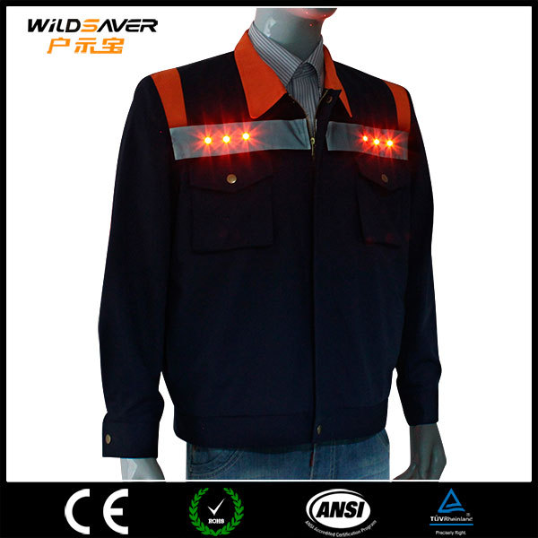 led safety workwear bomber jacket/leather jacket men