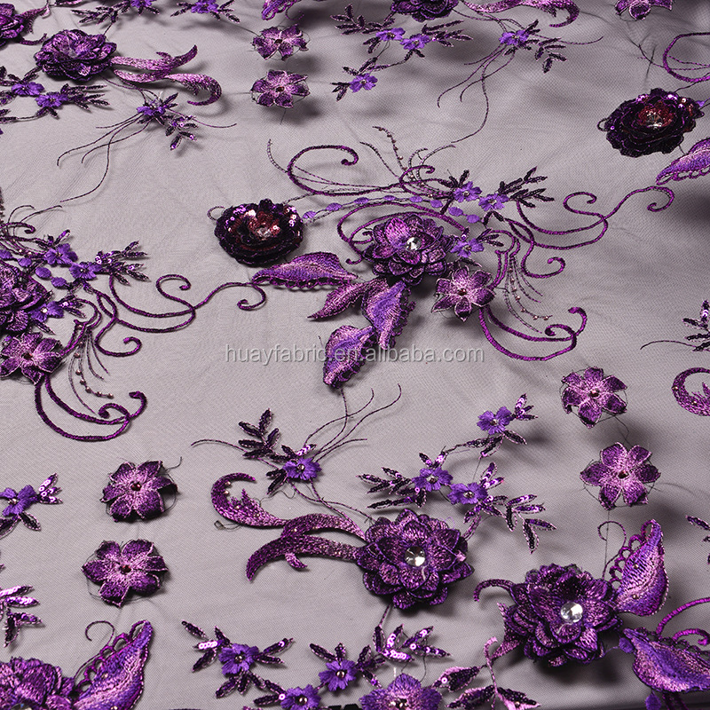 2016 Hot Purple french lace new design embroidery lace 3D applique designs flower embroidery FB0016