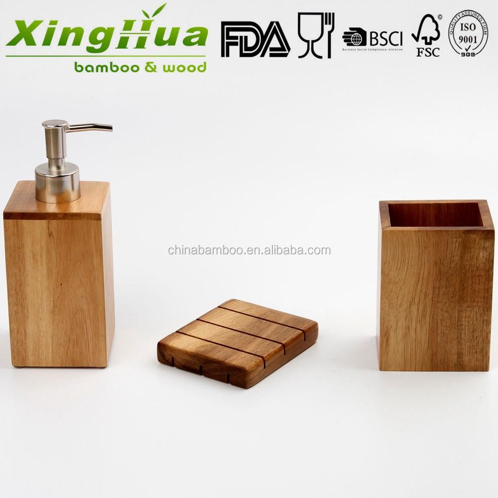 Wood bamboo bath accessories bathroom hand foam liquid for Wooden bathroom accessories