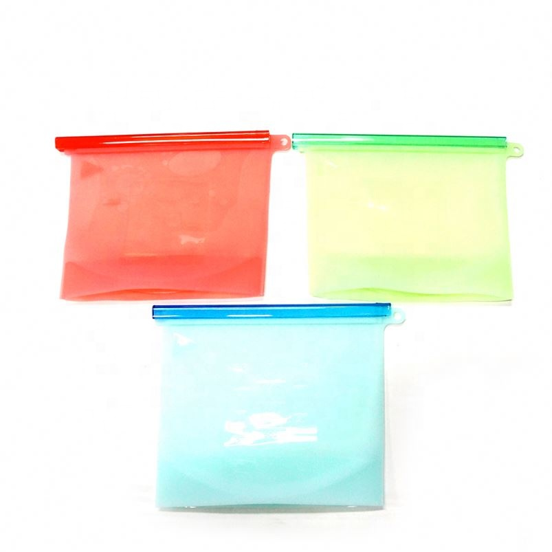 Zip Top Fda Food Grade Reusable Silicone Food Storage Bag Bags