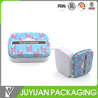 tiny metal candy can for package/small metal hinged lid candy tin box